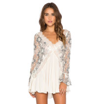 Dress Summer of 2018 white M,XS,S,L Short skirt singleton  Long sleeves street V-neck middle-waisted Broken flowers Socket Irregular skirt pagoda sleeve Others Backless, embroidery, lace, stitching MXb0057 51% (inclusive) - 70% (inclusive) cotton Europe and America