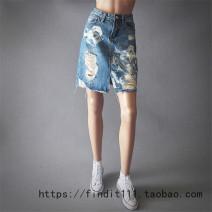 skirt Autumn of 2018 S,M,L,XL,2XL blue Short skirt Versatile Natural waist Denim skirt other Type H 81% (inclusive) - 90% (inclusive) Denim