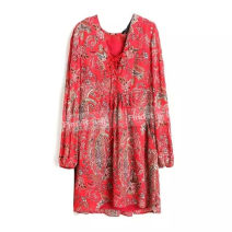 Dress Summer 2016 Poppy red, blue black S,M,L Short skirt singleton  Long sleeves street V-neck Loose waist Broken flowers Socket routine Others printing CY1662 81% (inclusive) - 90% (inclusive) Chiffon polyester fiber Europe and America