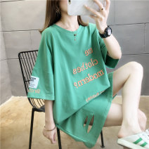 Dress Summer 2020 M L XL 2XL Mid length dress singleton  Short sleeve commute Crew neck letter Socket routine Others 18-24 years old Type A Love of butterfly Korean version 51% (inclusive) - 70% (inclusive) polyester fiber Polyester 65% Cotton 30% polyurethane elastic fiber (spandex) 5%