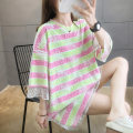Women's large Summer 2020 Pink yellow stripe orange green stripe purple green stripe M L XL 2XL T-shirt Fake two pieces commute easy Socket Short sleeve stripe Korean version Crew neck Medium length printing and dyeing routine junj1574 Love of butterfly 18-24 years old longuette Princess Dress