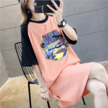T-shirt M L XL 2XL Summer of 2019 Short sleeve Crew neck easy Medium length routine commute polyester fiber 51% (inclusive) - 70% (inclusive) 18-24 years old Korean version originality Color matching of cartoon characters Love of butterfly printing Pure e-commerce (online only)