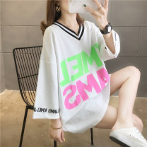 T-shirt White pink green M L XL 2XL Spring 2020 elbow sleeve V-neck easy Medium length routine commute polyester fiber 51% (inclusive) - 70% (inclusive) 18-24 years old Korean version originality letter Love of butterfly junj829 printing Pure e-commerce (online only)