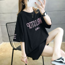 T-shirt Black white pink yellow M L XL 2XL Spring 2020 Short sleeve Crew neck easy Medium length routine commute cotton 86% (inclusive) -95% (inclusive) 18-24 years old Korean version originality letter Love of butterfly Embroidery Cotton 95% polyurethane elastic fiber (spandex) 5%