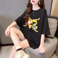 T-shirt Black and white M L XL 2XL Summer 2021 Short sleeve Crew neck easy Medium length routine commute polyester fiber 51% (inclusive) - 70% (inclusive) 18-24 years old Korean version originality Cartoon animation Love of butterfly junj2929 Embroidery Pure e-commerce (online only)