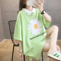 Dress Summer 2020 M L XL 2XL Mid length dress singleton  Short sleeve commute Polo collar letter Socket A-line skirt routine Others 18-24 years old Love of butterfly Korean version Button printing 51% (inclusive) - 70% (inclusive) other polyester fiber Pure e-commerce (online only)