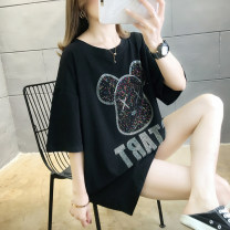 T-shirt Black white red M L XL 2XL Spring 2020 Short sleeve Crew neck easy Medium length routine commute cotton 86% (inclusive) -95% (inclusive) 18-24 years old Korean version originality Cartoon animation Love of butterfly Nail bead inlaid with diamond Pure e-commerce (online only)