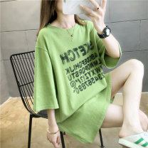 T-shirt Brick red white green M L XL 2XL Summer 2020 Short sleeve Crew neck easy Medium length routine commute polyester fiber 51% (inclusive) - 70% (inclusive) 18-24 years old Korean version originality letter Love of butterfly junj1075 printing Pure e-commerce (online only)