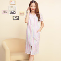 Nightdress Other / other Color stripe S [chest 100cm], m [chest 108CM], l [chest 116Cm], XL [chest 124cm] Short sleeve pajamas summer stripe youth V-neck cotton 61% (inclusive) - 80% (inclusive) pure cotton