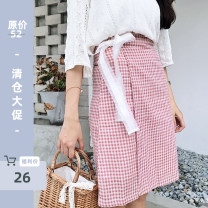 skirt Summer 2017 S, M Pink, picture color Middle-skirt Sweet High waist A-line skirt lattice Type A 18-24 years old A-ANLI-5111 Ruili