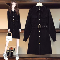 Women's large Autumn 2020 black Dress singleton  commute easy moderate Cardigan Long sleeves Korean version Polo collar routine Three dimensional cutting shirt sleeve AITI 25-29 years old belt Medium length Other 100% Pure e-commerce (online only) other