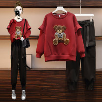 Women's large Winter 2020 Single top single Pants Red Top Black Pants Other oversize styles Two piece set commute easy moderate Socket Long sleeves Korean version Crew neck routine Three dimensional cutting routine AITI 25-29 years old pocket Other 100% Pure e-commerce (online only) trousers