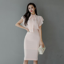 Dress Summer 2020 Pink S,M,L,XL Middle-skirt singleton  Short sleeve commute stand collar High waist Solid color zipper One pace skirt Sleeve Others 18-24 years old Type H Korean version Bow, Ruffle Chiffon Vinylon
