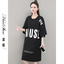 Dress Summer 2021 M L XL Mid length dress singleton  Short sleeve commute Crew neck Loose waist letter Socket other routine 25-29 years old Type H Han Xin Korean version Bag stitching resin fixation 5951-58-DYWE SFSDGH More than 95% brocade cotton Cotton 100% Pure e-commerce (online only)