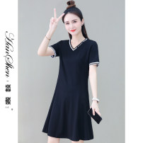 Dress Summer 2021 black M L XL 2XL longuette singleton  Short sleeve commute V-neck High waist Solid color Socket A-line skirt routine 25-29 years old Type A Han Xin Splicing 30% and below nylon Pure e-commerce (online only)