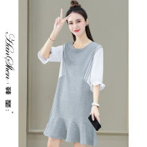 Dress Summer 2021 Grey light blue royal blue black M L XL 2XL 3XL longuette singleton  Short sleeve commute Crew neck Loose waist Solid color Socket Ruffle Skirt routine 25-29 years old Type A Han Xin Korean version Splicing 2693-85-HYLC J 51% (inclusive) - 70% (inclusive) cotton