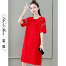 Dress Summer 2021 Red black blue M L XL 2XL 3XL Mid length dress singleton  Short sleeve commute Crew neck Loose waist Solid color Socket One pace skirt routine 25-29 years old Type H Han Xin Korean version Color fixing with stitching resin 30% and below brocade nylon Pure e-commerce (online only)