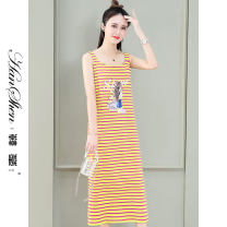 Dress Summer 2021 Black yellow stripe blue green stripe red yellow stripe M L XL 2XL longuette singleton  Sleeveless commute Crew neck Loose waist stripe Socket A-line skirt routine camisole 25-29 years old Type A Han Xin Korean version printing 2161-55-SSX WDVXA More than 95% cotton