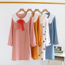 Nightdress Other / other White Lapel crepe skirt powder, white Lapel crepe skirt yellow, white Lapel crepe Skirt Blue, white Lapel crepe skirt white strawberry M,L,XL Sweet Long sleeves longuette summer Solid color youth Crew neck cotton pure cotton