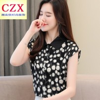 shirt White, red, black S,M,L,XL,2XL Summer 2020 polyester fiber 81% (inclusive) - 90% (inclusive) Short sleeve commute Regular Polo collar Single row multi button routine Dot Straight cylinder Korean version printing Chiffon