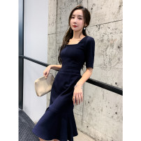 Dress Spring 2021 Navy Blue XS,S,M,L,XL Mid length dress singleton  elbow sleeve commute square neck middle-waisted Solid color Socket Ruffle Skirt routine Others Type H Korean version Light luxury small crowd fried Street dress 31% (inclusive) - 50% (inclusive) other other