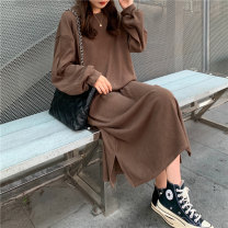 Dress Winter 2020 Dark Khaki blue gray black Average size longuette singleton  Long sleeves commute Crew neck Solid color A-line skirt routine Others 18-24 years old Type A Individual melody Korean version cl20201028485 81% (inclusive) - 90% (inclusive) corduroy cotton Exclusive payment of tmall