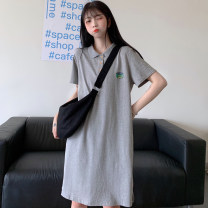 Dress Summer 2020 Green black grey M L XL 2XL Mid length dress singleton  Short sleeve commute Polo collar Cartoon animation Three buttons A-line skirt routine 18-24 years old Type A Individual melody Korean version printing UYRW24600 More than 95% cotton Cotton 100% Pure e-commerce (online only)