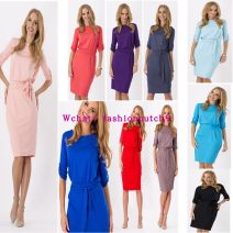 Dress Summer of 2018 Red, purple, blue, black, coffee, sky blue, pink, navy S,M,L,XL,2XL Middle-skirt singleton  commute middle-waisted Solid color Socket other routine Others Ol style h1778 31% (inclusive) - 50% (inclusive) other