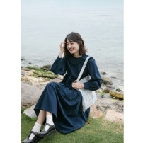 Dress Spring 2021 Navy, pink S,M,L Mid length dress singleton  Long sleeves street Doll Collar Loose waist Solid color routine 18-24 years old Type H Hello, canon H4915