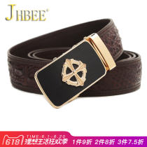 Belt / belt / chain Crocodile leather Army Green Sky Blue JHBEE belt male Wild Automatic buckle alloy a80195 youth Glossy 105cm110cm115cm120cm125cm Spring and summer of 2018