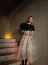 skirt Spring 2021 XS S M L Decor longuette commute High waist A-line skirt Solid color Type A 25-29 years old A022184 More than 95% Chiffon Xiaoyi other printing Korean version Other 100% Pure e-commerce (online only)