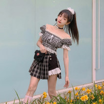 skirt Summer 2021 S < spot >, m < spot >, l < spot >, s < delivery in 20 days >, m < delivery in 20 days >, l < delivery in 20 days > Red, pink, black Short skirt Sweet High waist Pleated skirt lattice Type A 18-24 years old B1893 51% (inclusive) - 70% (inclusive) other jnorii polyester fiber