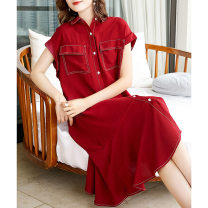 Dress Summer 2020 claret L,XL,2XL,3XL Mid length dress singleton  Short sleeve commute square neck Loose waist Solid color Single breasted A-line skirt Sleeve Others 30-34 years old Type A Cymbidium hybridum Korean version Strap, button More than 95% Chiffon polyester fiber