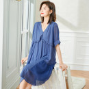 Dress Summer 2021 blue L,XL,2XL,3XL,4XL,5XL Mid length dress singleton  Short sleeve commute V-neck Loose waist Solid color Socket other routine Others 30-34 years old Type A Cymbidium hybridum Korean version Fungus, splicing K21B210471 51% (inclusive) - 70% (inclusive) other other