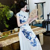 cheongsam Summer of 2018 S,M,L,XL,XXL,XXXL,XXXXL 7048 oder Short sleeve long cheongsam Retro High slit Oblique lapel other have more cash than can be accounted for polyester fiber 31% (inclusive) - 50% (inclusive)