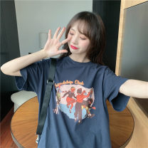 Women's large Summer 2020 M L XL singleton  commute thin Short sleeve Cartoon letters Korean version Crew neck routine cotton routine Miss Song 18-24 years old Polyester 63.4% cotton 34.1% polyurethane elastic fiber (spandex) 2.5% Pure e-commerce (online only)