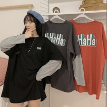 Women's large Autumn 2020 Red dark grey black M L XL T-shirt Fake two pieces commute easy moderate Socket Long sleeves letter Korean version Crew neck routine routine ZM000519 Miss Song 18-24 years old Polyester 62.5% cotton 34.9% polyurethane elastic fiber (spandex) 2.6%