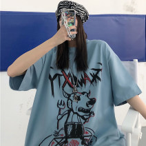 Dress Summer 2021 Warm grey white blue M L XL Mid length dress singleton  Short sleeve commute Crew neck Loose waist Cartoon animation routine 18-24 years old Miss Song Korean version AA553 51% (inclusive) - 70% (inclusive) polyester fiber Pure e-commerce (online only)