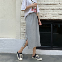 skirt Summer 2020 M L XL Grey black Mid length dress Versatile Natural waist other Solid color 25-29 years old More than 95% Miss Song cotton Split Cotton 100% Pure e-commerce (online only)