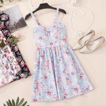 Dress Summer of 2019 Red flowers on a white background small rose on a white background small rose on a black background Average size Short skirt singleton  Sleeveless commute V-neck High waist Decor zipper A-line skirt other camisole 18-24 years old Type A Duoshinu Korean version bow CSNRG165 other