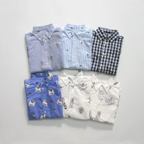 shirt Blue print, white blue print, white purple print, blue bubble stripe bear print, black and white check pine print, blue stripe embroidered dog Other / other neutral 5T,6T,7T,S(8),M(10-12),L(14-16),XL(18-20) No season Long sleeves other Pure cotton (100% cotton content) Lapel and pointed collar