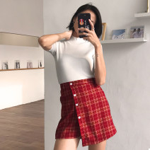 skirt Winter of 2018 S,M,L,XL Red check, black check, Navy check Short skirt High waist A-line skirt lattice