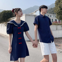 Dress Summer 2011 Navy Blue S. M, l, XL, 2XL, m, l, XL, XXL, XXL singleton  Long sleeves commute Crew neck Cartoon animation routine 18-24 years old printing 606# 81% (inclusive) - 90% (inclusive)