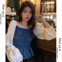 shirt Blue black S M L XL Spring 2021 other 96% and above Long sleeves commute Short style (40cm < length ≤ 50cm) square neck Socket puff sleeve other 18-24 years old Self cultivation Manyashi Korean version fold Other 100% Pure e-commerce (online only)