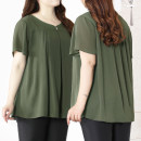Women's large Summer 2020 green T-shirt singleton  commute easy moderate Socket Short sleeve Solid color V-neck Medium length polyester Three dimensional cutting