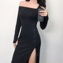 Dress Autumn of 2019 black S,M,L Mid length dress singleton  Long sleeves street other High waist One pace skirt routine Others 18-24 years old Type H 91% (inclusive) - 95% (inclusive) cotton Europe and America