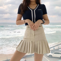 skirt Spring 2021 S,M,L Black, khaki, long sleeves Short skirt street High waist Pleated skirt Solid color Type A 18-24 years old SWD3180W0F More than 95% other polyester fiber Europe and America