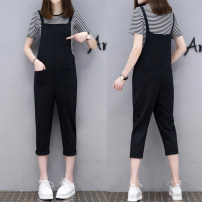Casual pants Black strap pants (with stripe T-shirt) S,M,L,XL,2XL Spring of 2019 Cropped Trousers rompers High waist street routine 81% (inclusive) - 90% (inclusive) cotton cotton Europe and America