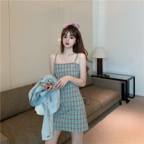 Dress Summer 2020 Picture color M L XL Short skirt singleton  Sleeveless commute One word collar High waist lattice Socket A-line skirt other camisole 18-24 years old Type H Han Xuan Korean version backless 91% (inclusive) - 95% (inclusive) other cotton Pure e-commerce (online only)