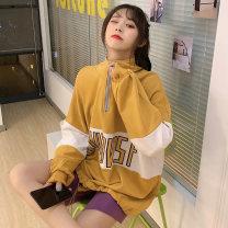 Sweater / sweater Autumn 2020 Yellow green M L XL Long sleeves routine Socket singleton  routine stand collar easy commute routine letter 91% (inclusive) - 95% (inclusive) Han Xuan Korean version cotton XM-6148 Cotton liner Cotton 93.1% polyurethane elastic fiber (spandex) 6.9%